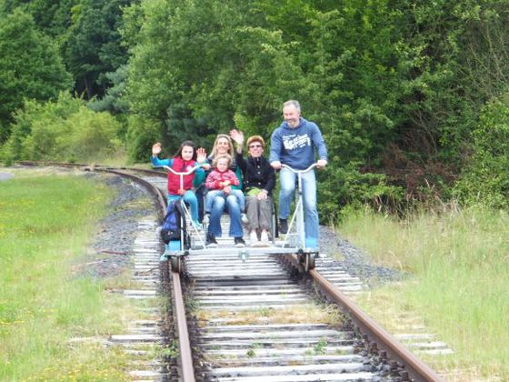 Riding a cycle handcar is a lot of fun!