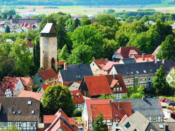 The old town of Korbach with the medieval 'Tylen Tower.