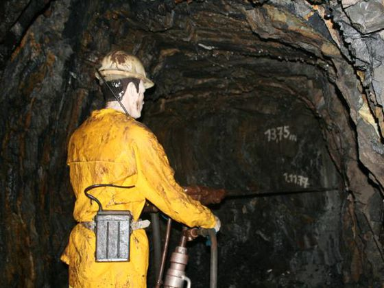 Model of a miner in the gold mine Korbach-Goldhausen