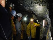 Participants of a guided tour in the gold mine in Goldhausen