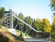 The in-run tower of the Mühlenkopf Ski Jump in Willingen in summer